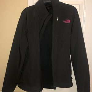 Women's Gray North Face Jacket with Pink Logo